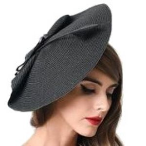 Accessories - 1950s new look retro black fascinator hat feather
